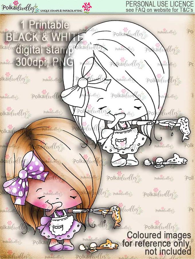 Pancake Oopsy - Lil Miss Sugarpops cute digi stamp printable download