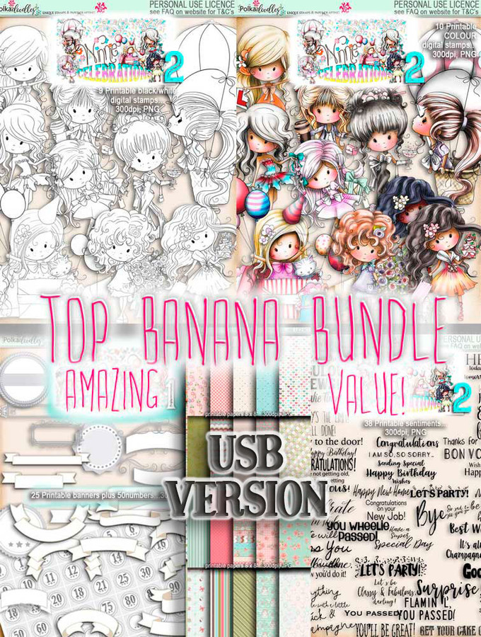 Winnie Celebrations 2...Top Banana bundle, mega value kit of digi stamps, papers, sentiments, banners & numbers printables on USB