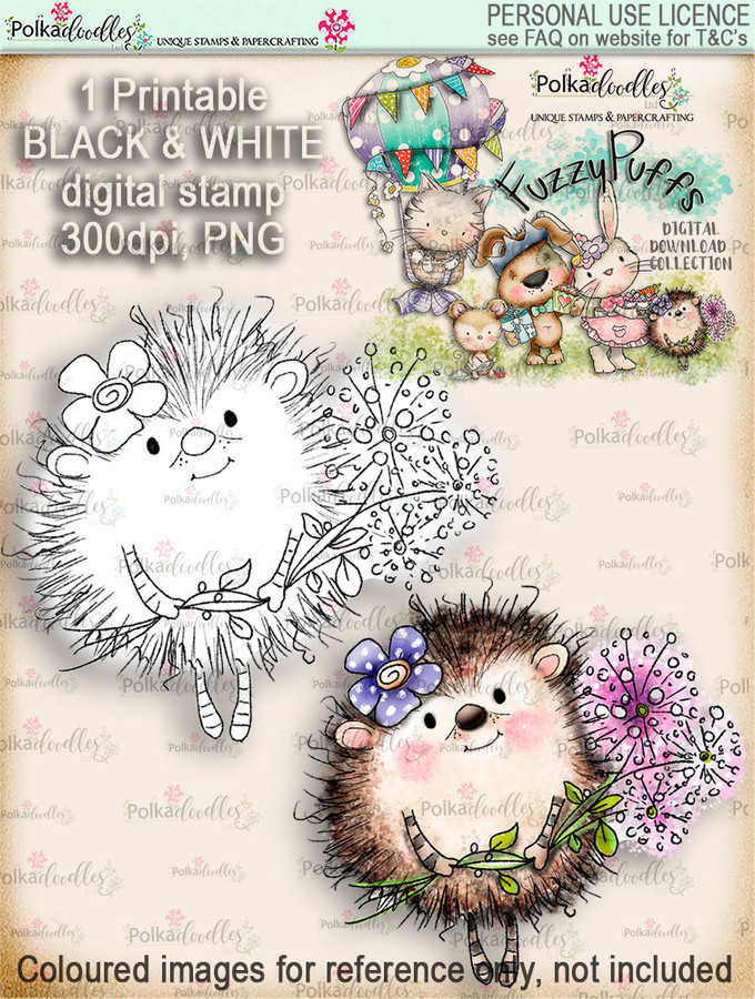 Earlie Hedgehog Dandelion - Fuzzypuffs digi stamp printable download