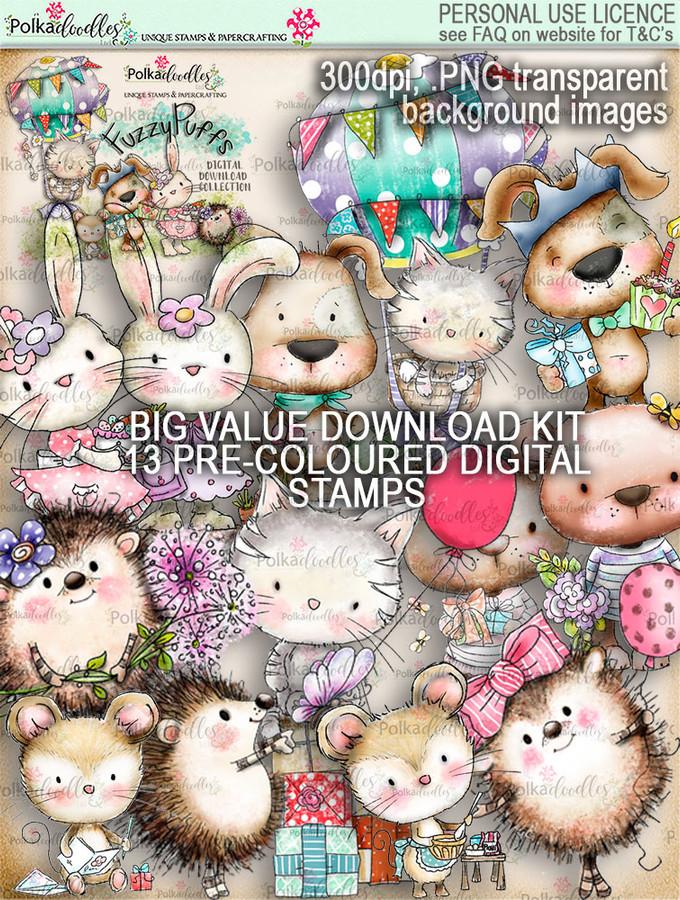 Fuzzypuffs COLOUR digi stamp BIG VALUE download kit