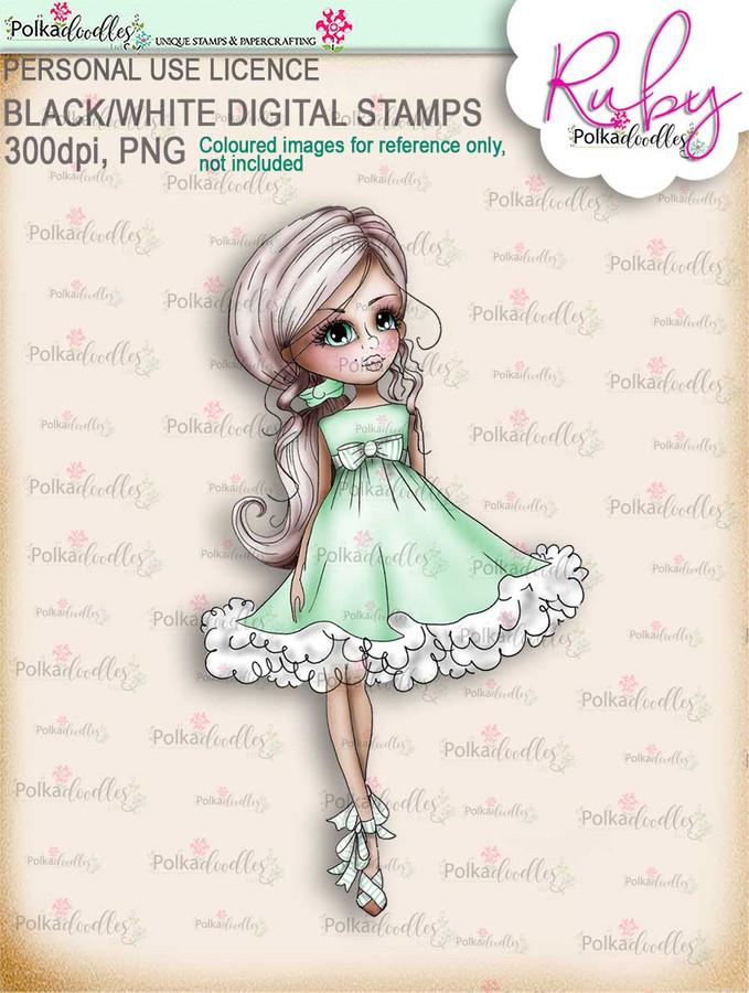 Ruby Frou Frou - COLOUR digi stamp printable download