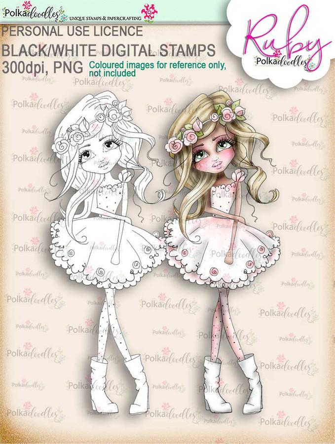 Ruby Boho Chic digi stamp printable download