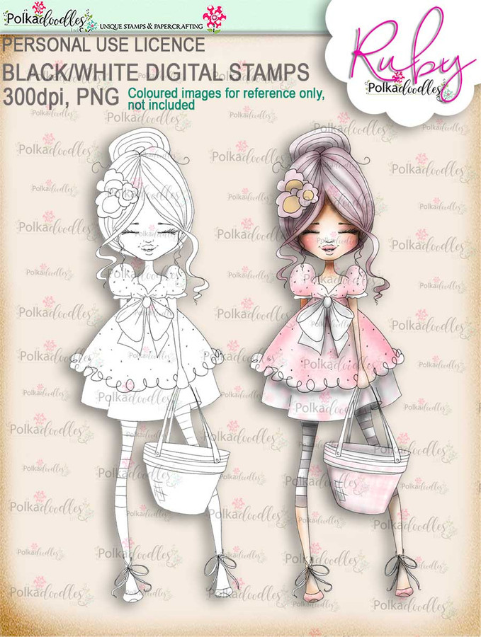 Ruby Hey there - digi stamp printable download