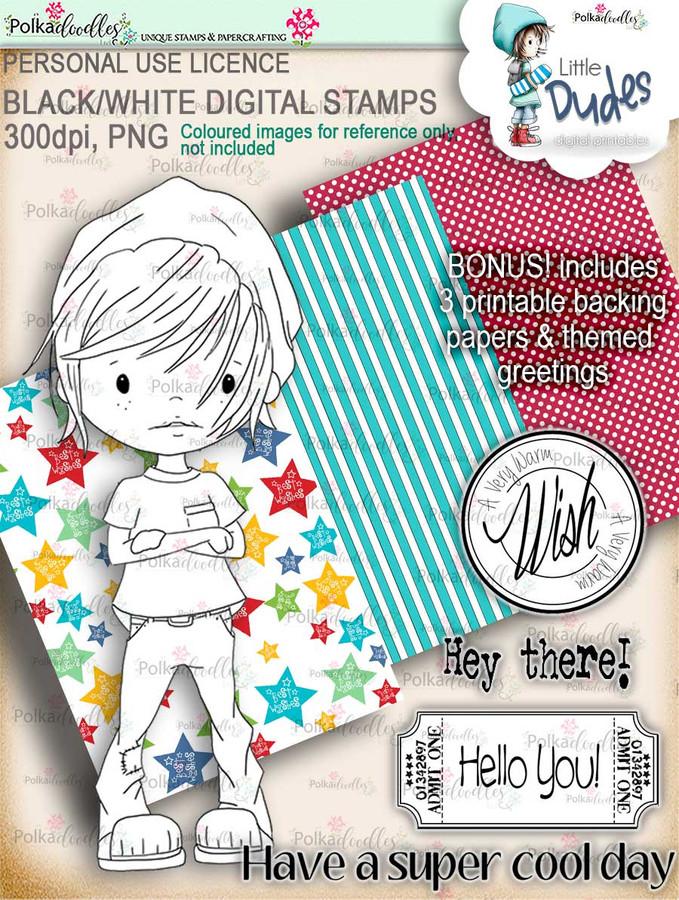 Cool dude - digi stamp printable download