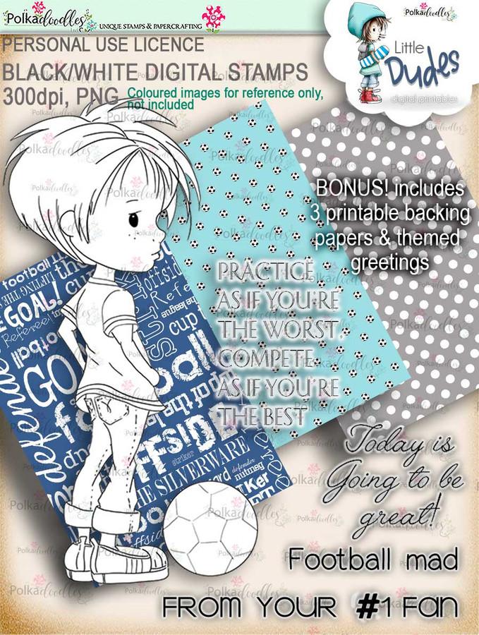 Football/Soccer Little Dude - digi stamp printable download