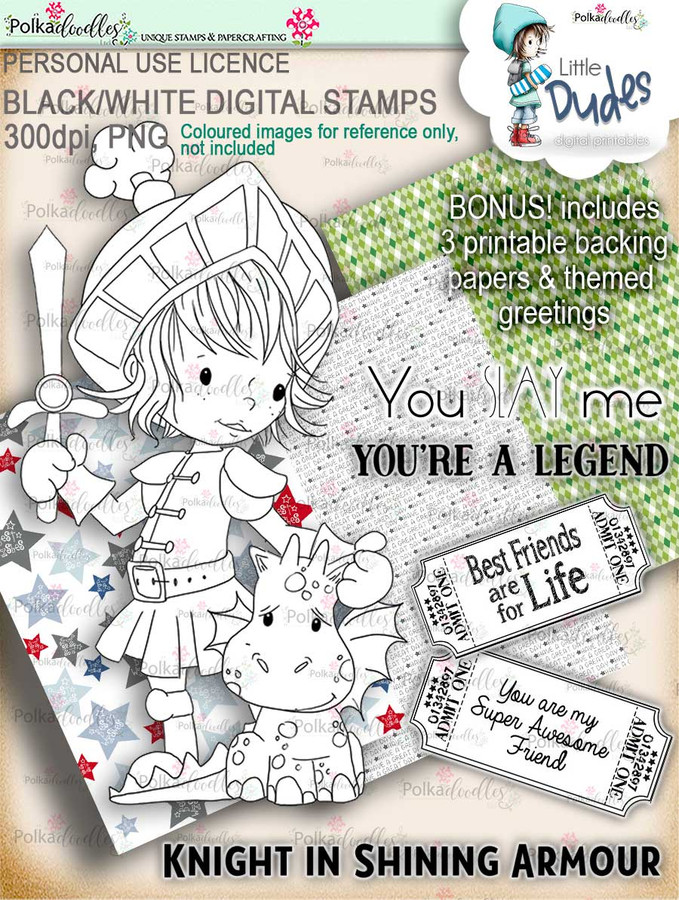 Knight Dragon Little Dude - digi stamp printable download