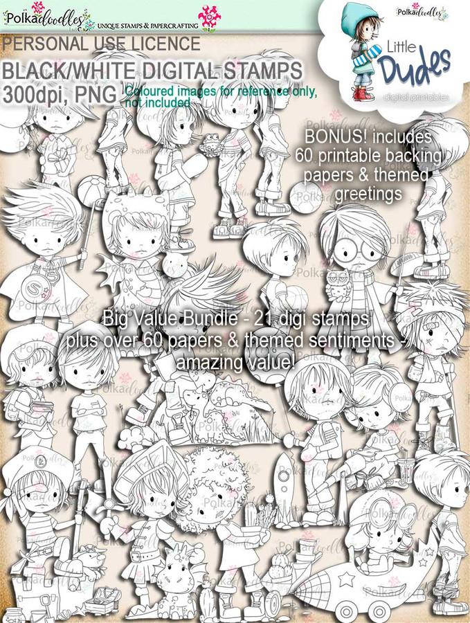 Big Value Little Dudes - 21 digi stamp printable download