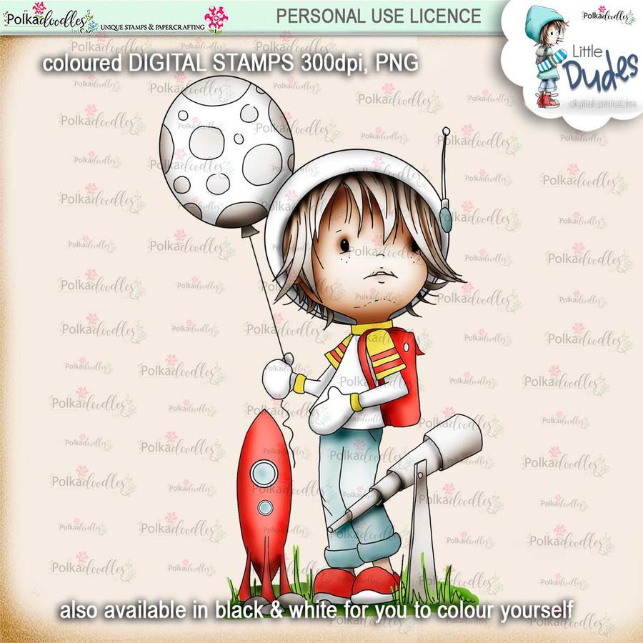 Astronaut - PRECOLOURED - Little Dudes printable download