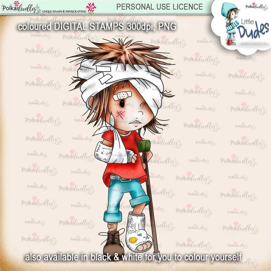 Broken Bones - PRECOLOURED - Little Dudes digi stamp printable download