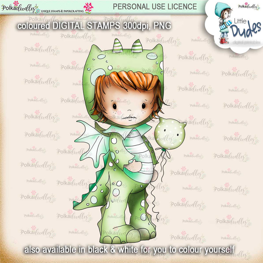 Dragon Onesie -PRECOLOURED - Little Dudes digi stamp printable download