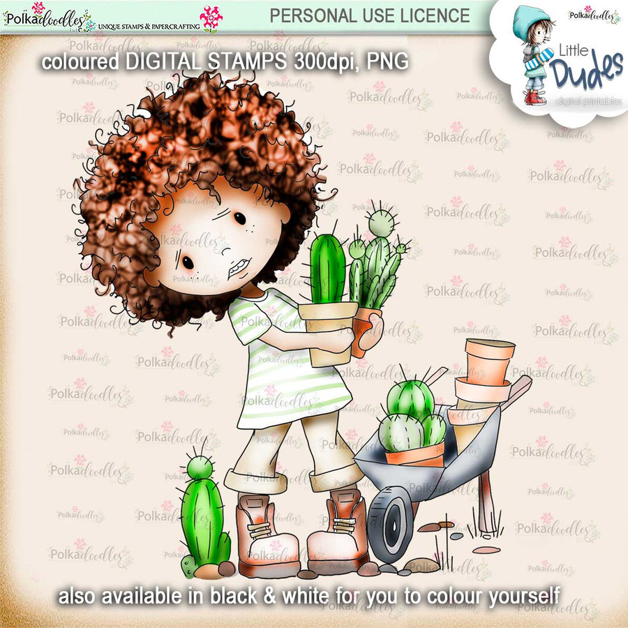 Prickly Little Dude  - PRECOLOURED- digi stamp printable download