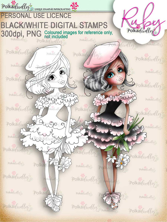 Ruby Oo-la-la - black/white digi stamp download