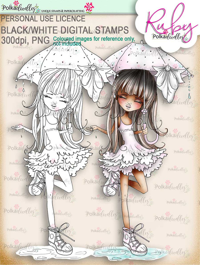 Ruby Raindrop Umbrella - black/white digi stamp download - black/white digi stamp download