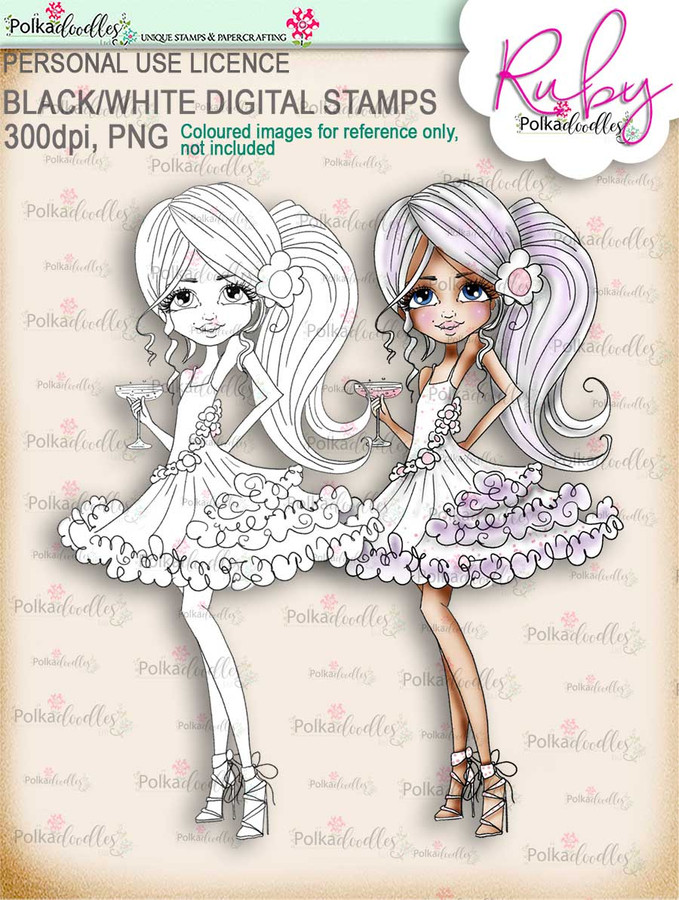 Ruby Party Girl - black/white digi stamp download - black/white digi stamp download