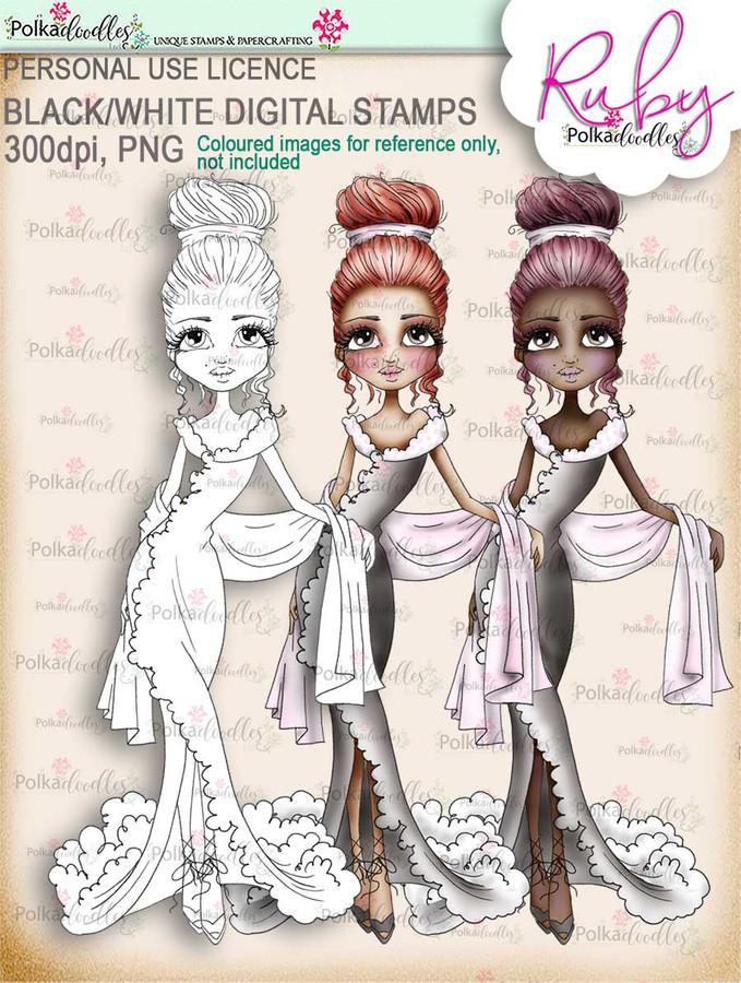 Ruby Chic - black/white digi stamp download