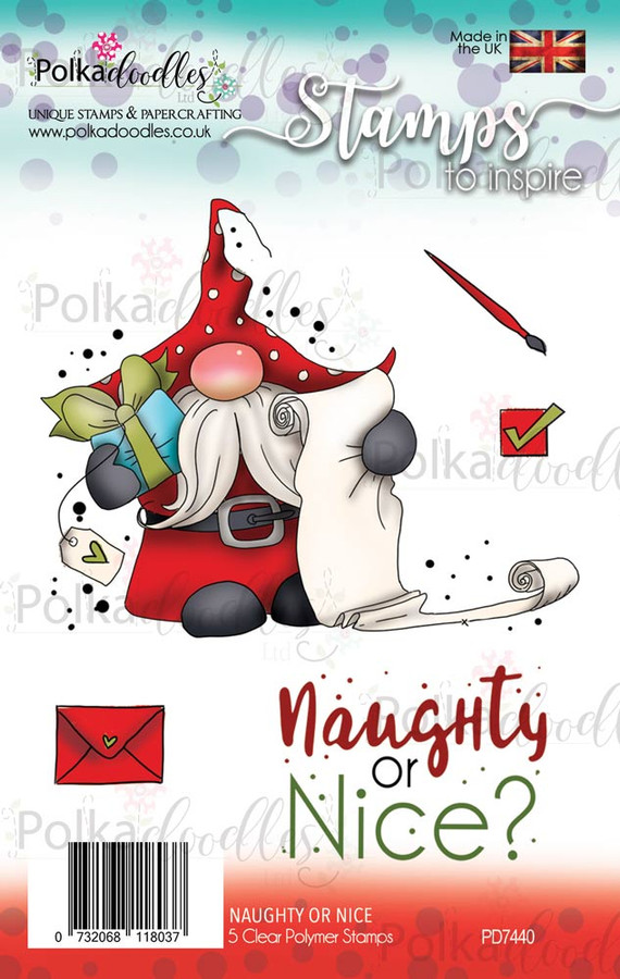 Gnome Santa clear Polymer stamp set -Naughty or Nice