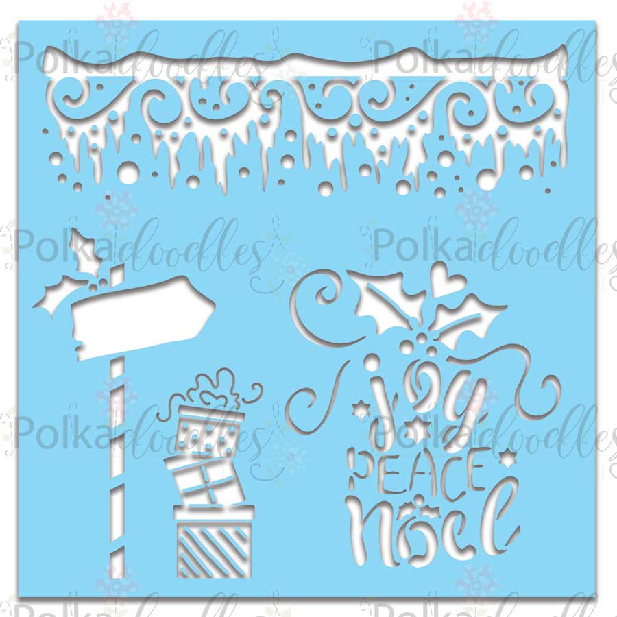 """Icicles/North Pole -  Christmas Stencil, 6 x 6"""""""
