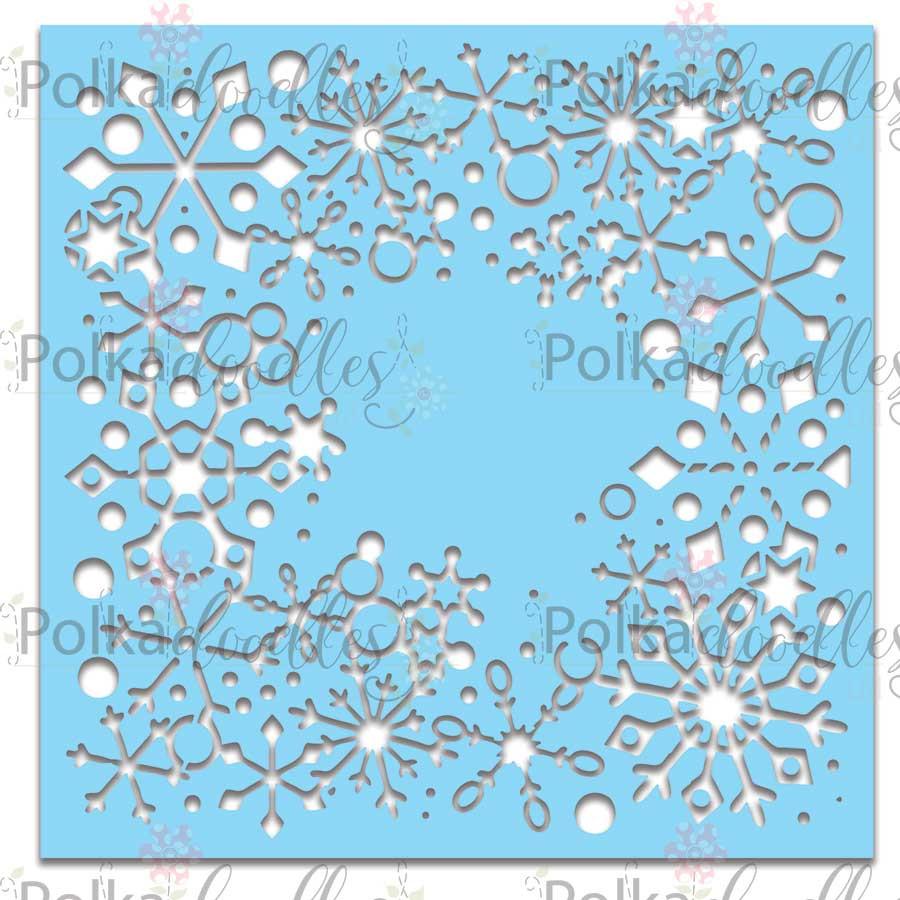 "Snowflake border background -  Christmas Stencil, 6 x 6"""