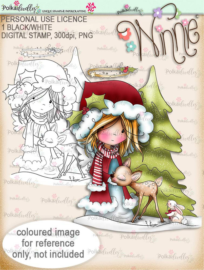 Forest Friends - Winnie Angel digital stamp download