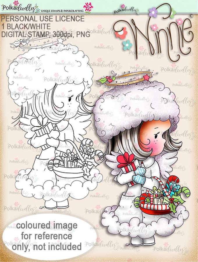 Delivering Candy - Winnie Angel digital stamp download