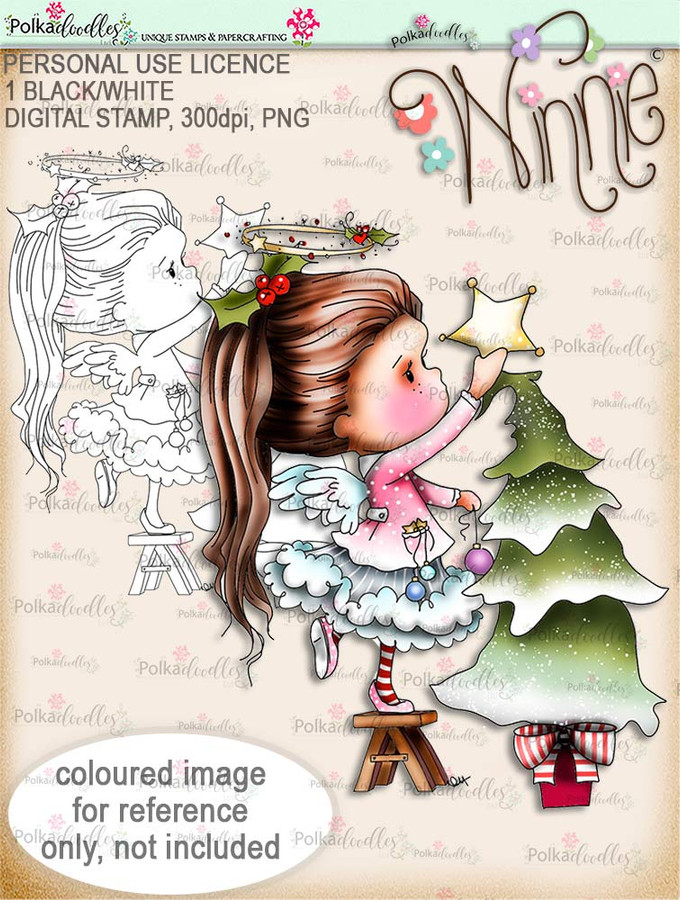 Winnie Angel - Decorations up. Digital stamp printable download