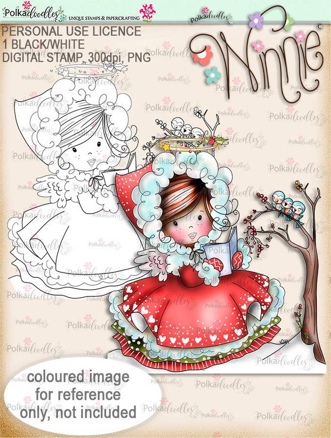 Woodland Songtime - Winnie Angel digital stamp download