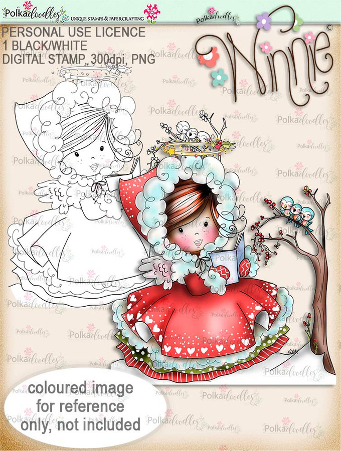 Woodland Songtime - Winnie Angel digital stamp download