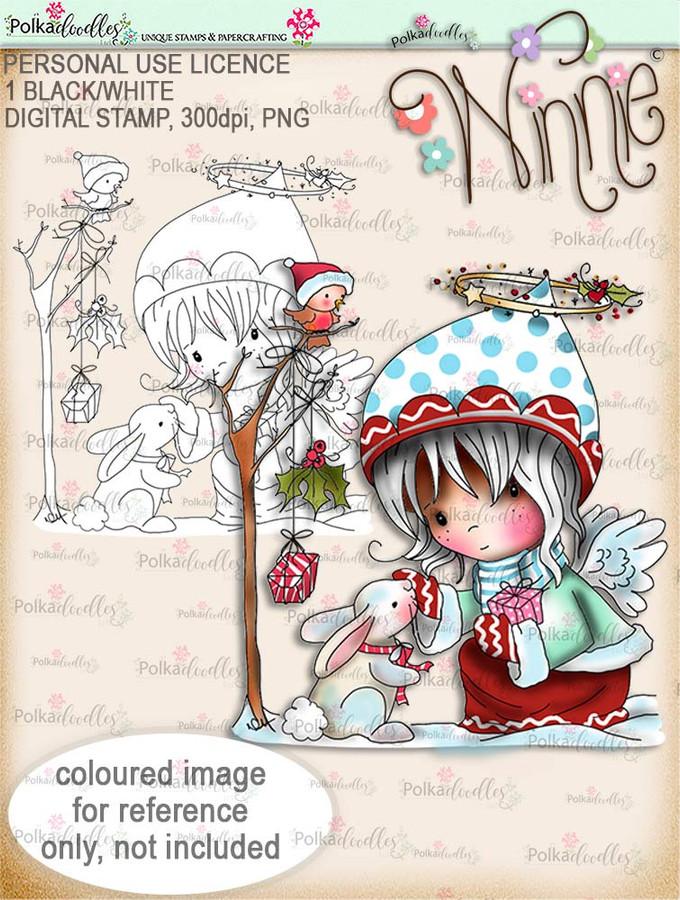 Gift of Christmas - Winnie Angel digital stamp download