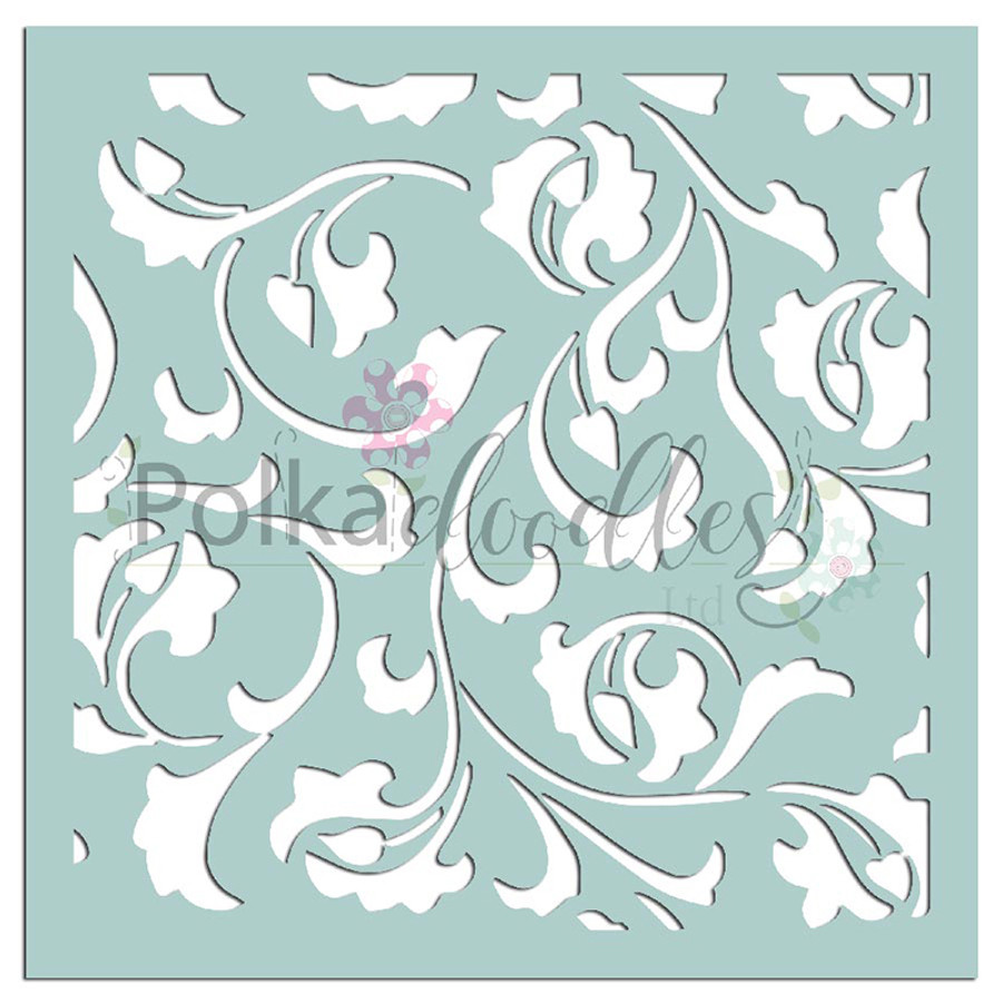 """Damask Delights - 6 x 6"""" creative craft mixed media stencil"""