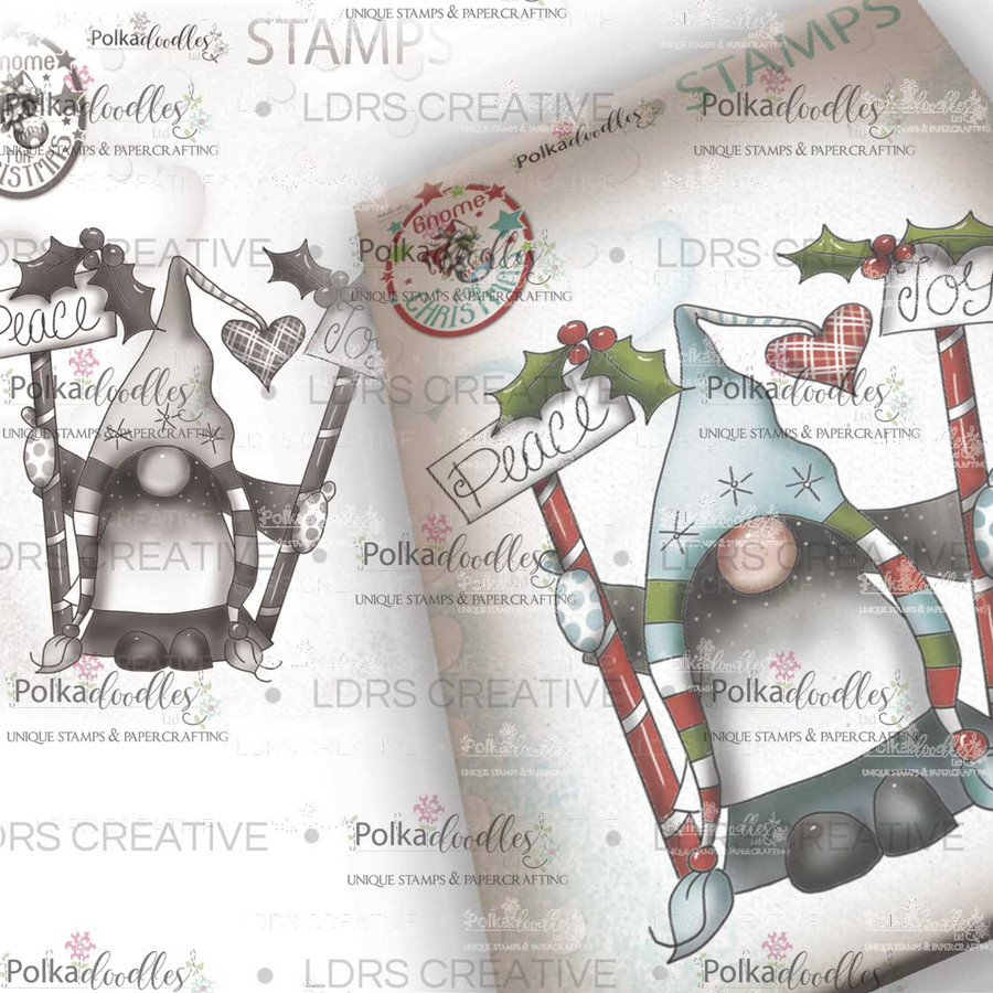 Peace & Joy Gnome Grey Rubber Stamp