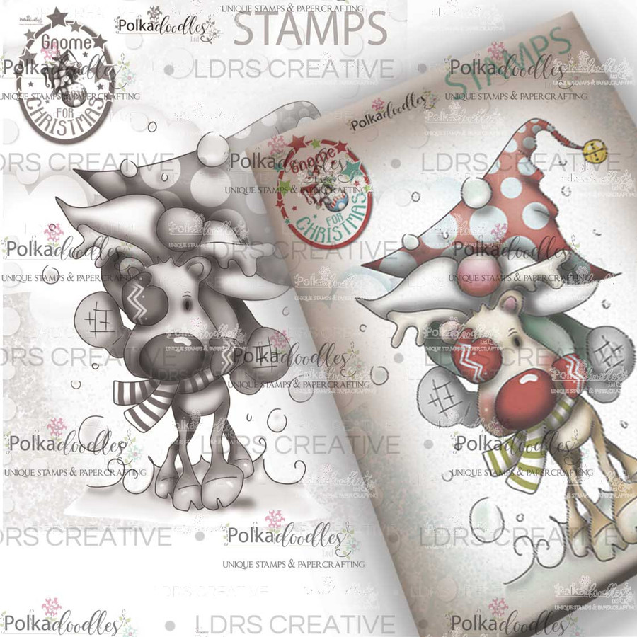 Lets Go Gnome Grey Rubber Stamp