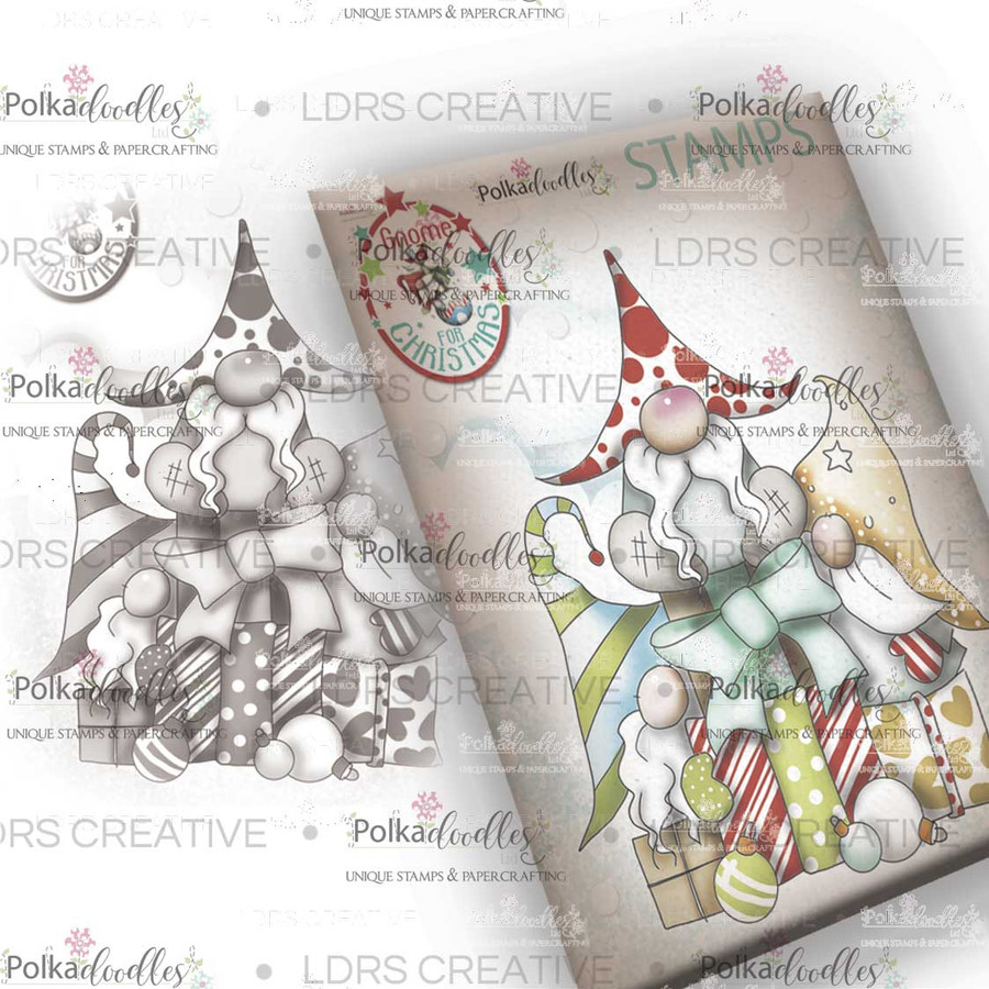 Gift of Christmas Gnome Grey Rubber Stamp
