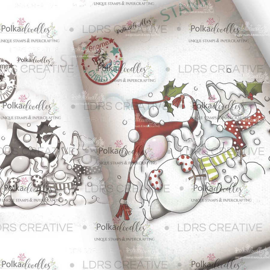 Snow Gnomes Grey Rubber Stamp