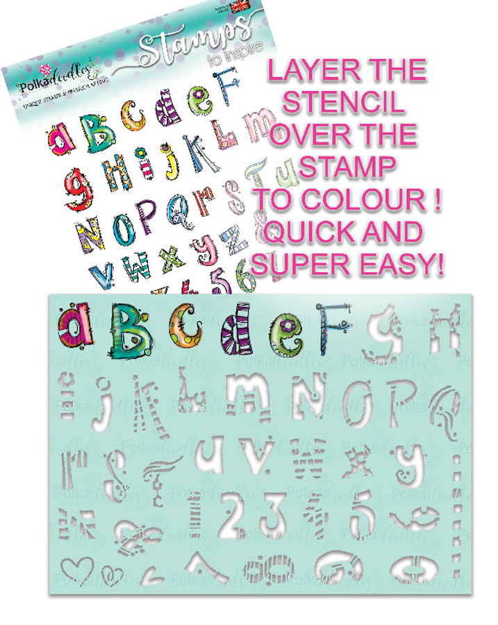 Funky Alphabet A5 stamp set with co-ordinating stencil