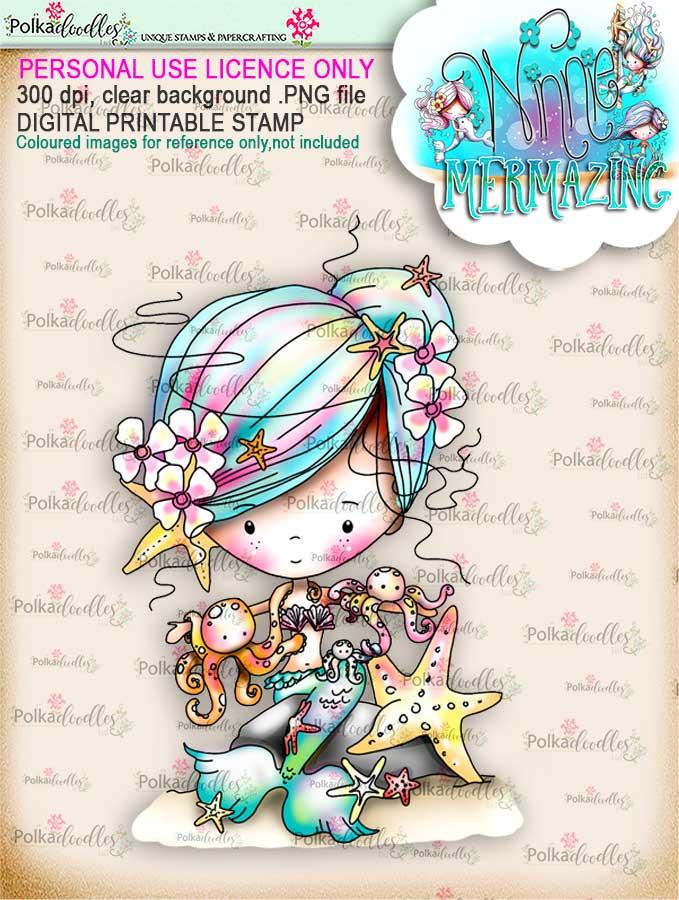 Winnie Mermaid Mermazing (pre-coloured) - octopus kisses digital stamp download