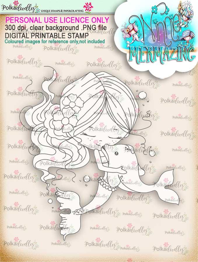 Winnie Mermaid Mermazing - best friends digital stamp download