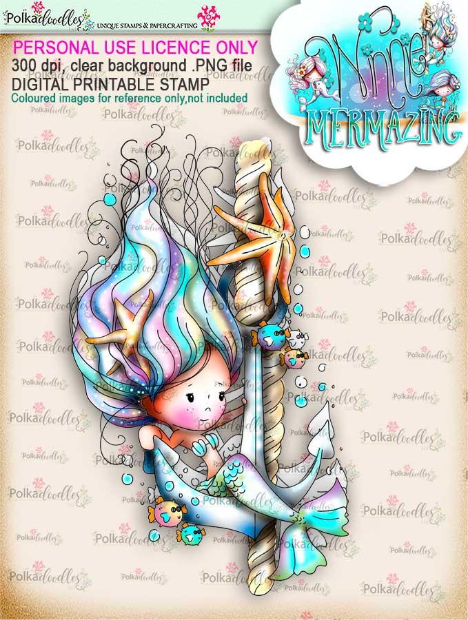 Winnie Mermaid Mermazing (precoloured)- Anchor's Away digital stamp download