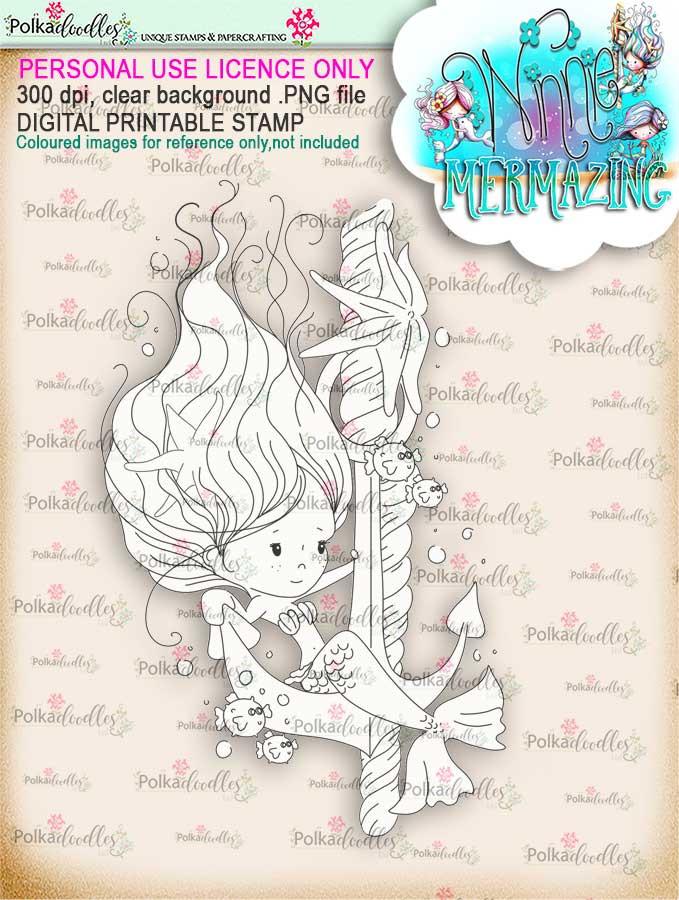 Winnie Mermaid Mermazing - Anchor's Away digital stamp download