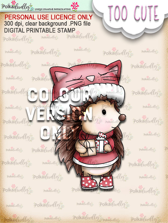 Holly Hedgehog Gifts - Coloured - Too Cute digital papercrafting download