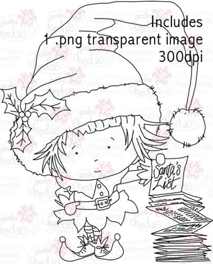 Hollybobs Little Elf digital stamp download