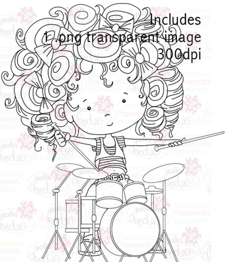 Drummer Girl digital stamp download