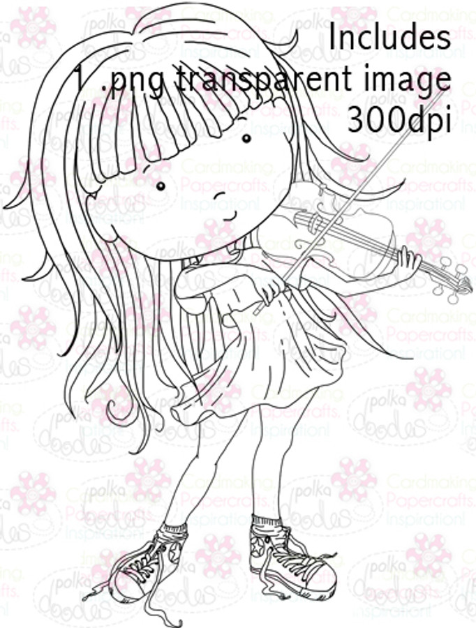 Violin Girl digital stamp download