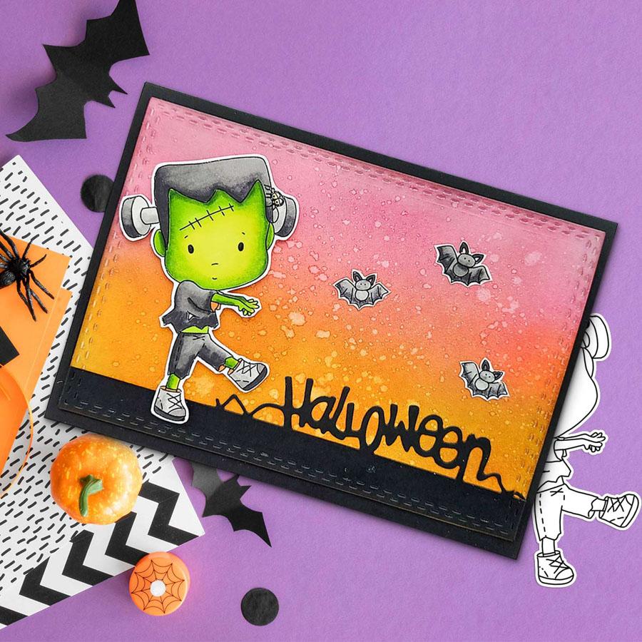 Frankenstein Boo Halloween printable digital stamp downloads