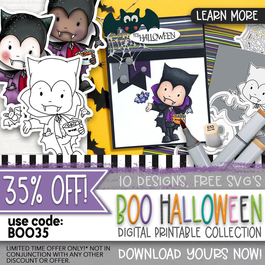 35% off Boo Halloween craft digital stamps
