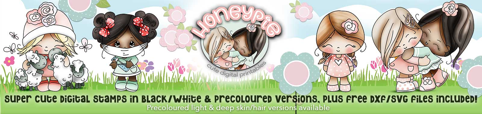 Honeypie cute girl digital printable download collection with free svg files