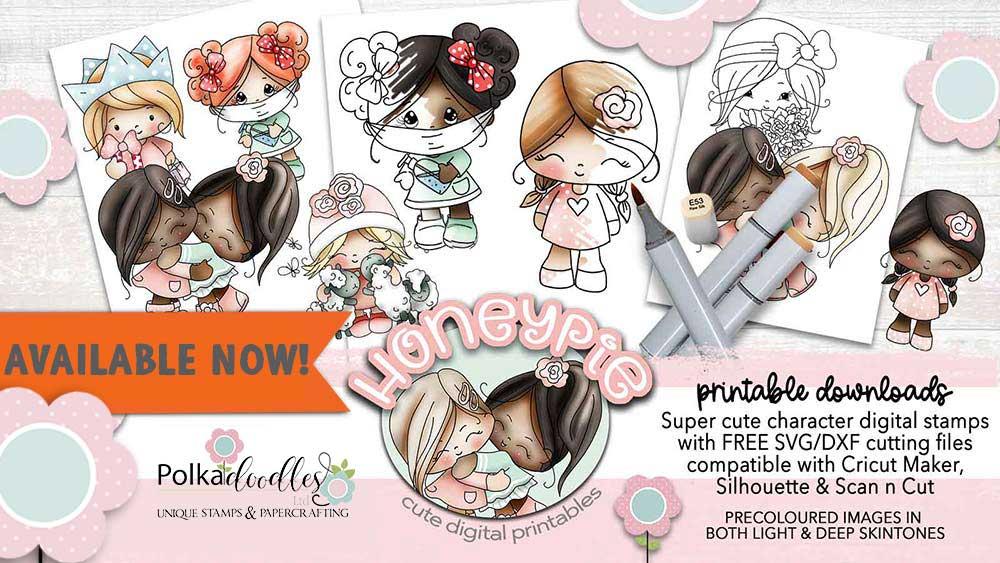 Honeypie cute girl paper crafting supplies printable downloads