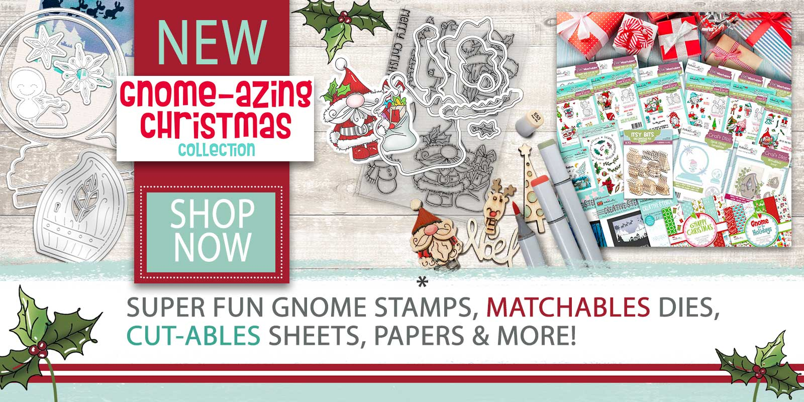 GNOME-AZING CHRISTMAS GNOME STAMPS DIES PAPER CRAFTING COLLECTION