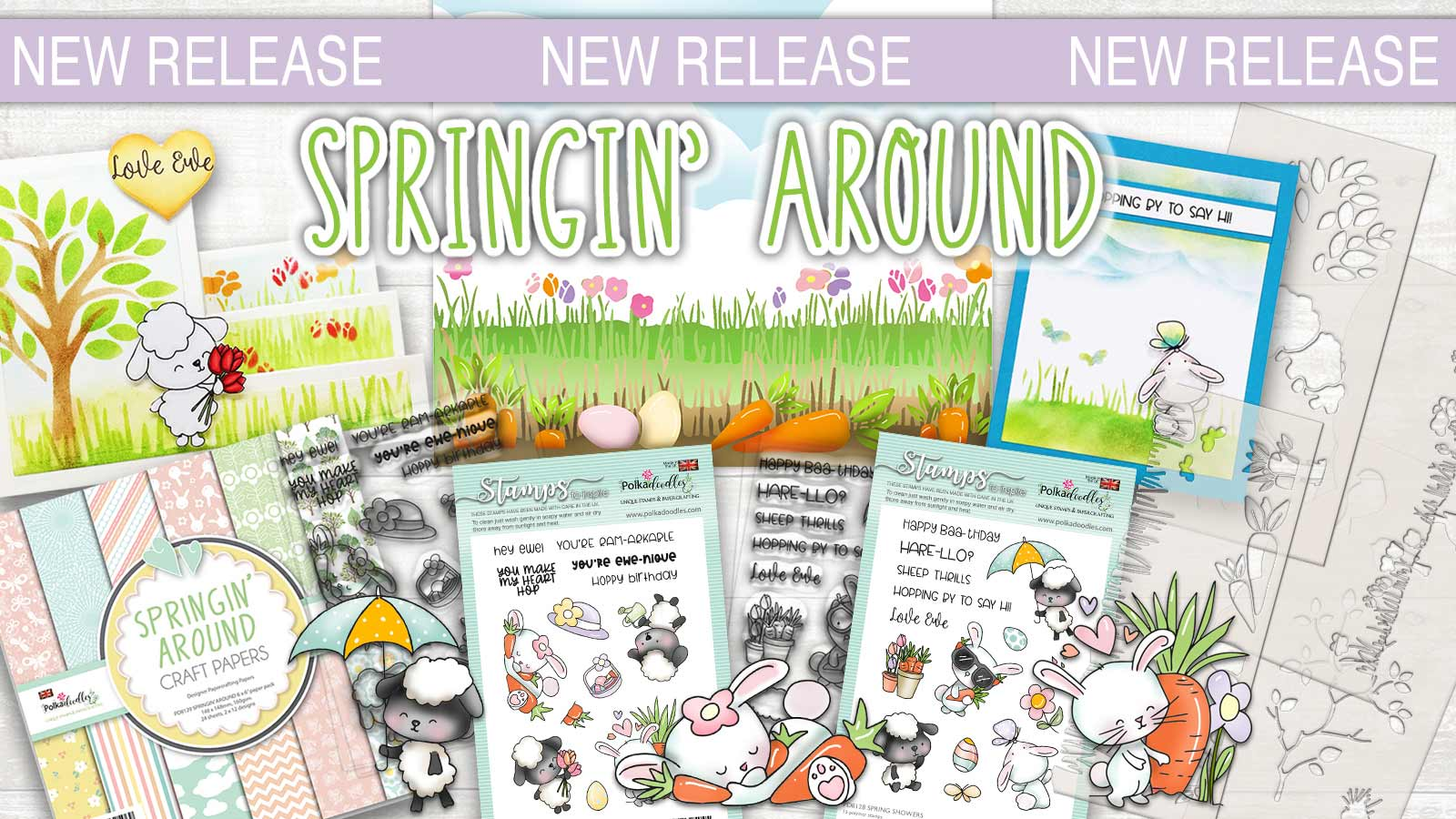 new springin around stamp stencil paper collection