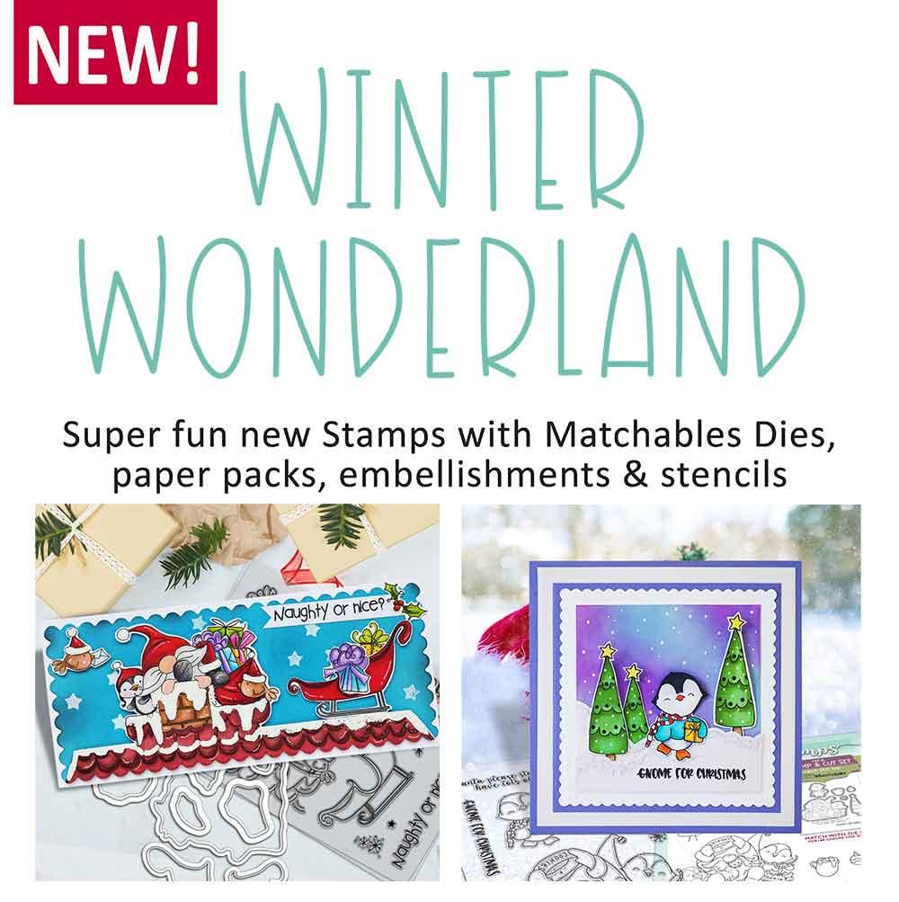 WINTER WONDERLAND GNOME CHRISTMAS CRAFT STAMPS, CRAFT DIES, CRAFT PAPER PACKS