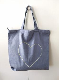 HEART DENIM BAG / LT. BLUE